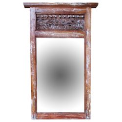 antiker Holzrahmen mit Spiegel