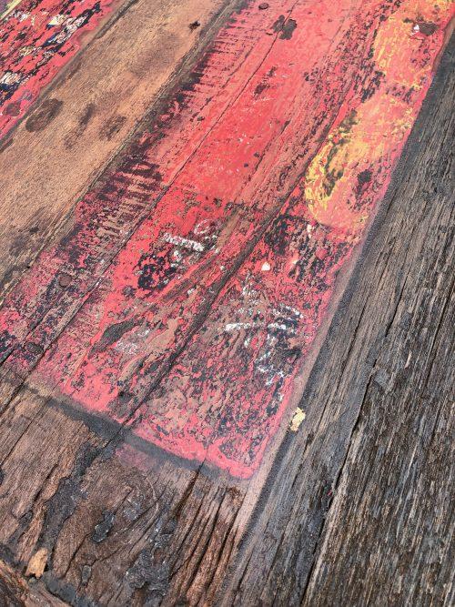 massiver Esstisch aus altem Bootsholz | gross