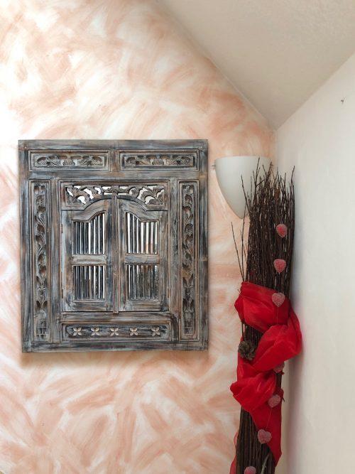 Fenster mit Spiegel 80x90 cm in Braun