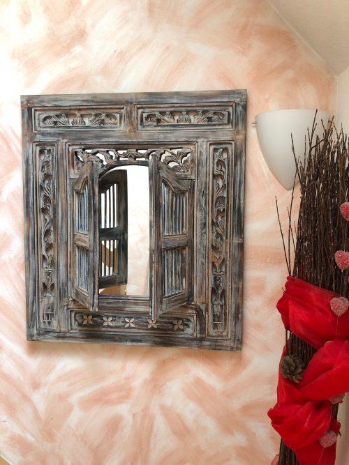 Fenster Fenster mit Spiegel 80x90 cm in Braun