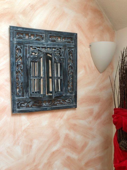 Spiegelfenster handgeschnitzt 60x70 Blau