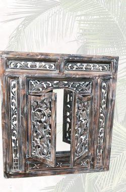 Holzspiegel zum Aufklappen in Braun 80x90cm