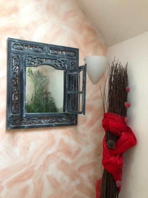 Spiegelfenster Blau in 50 x 60cm Holzspiegel